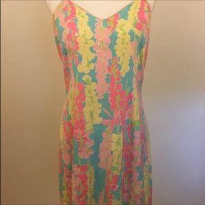 Lilly Pulitzer Silk Slip Dress Pink Floral Print